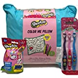 Shopkins Color My Pillow SPK & Blind Mystery Pack of Plush Shopkins Character and 3 pack of Brush Buddies Sof Children's Toothbrushes