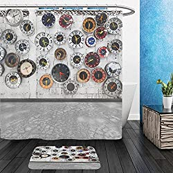 Vanfan Bathroom 2Suits 1 Shower Curtains & 1 Floor Mats retro clocks on the wall 83200543 From Bath room