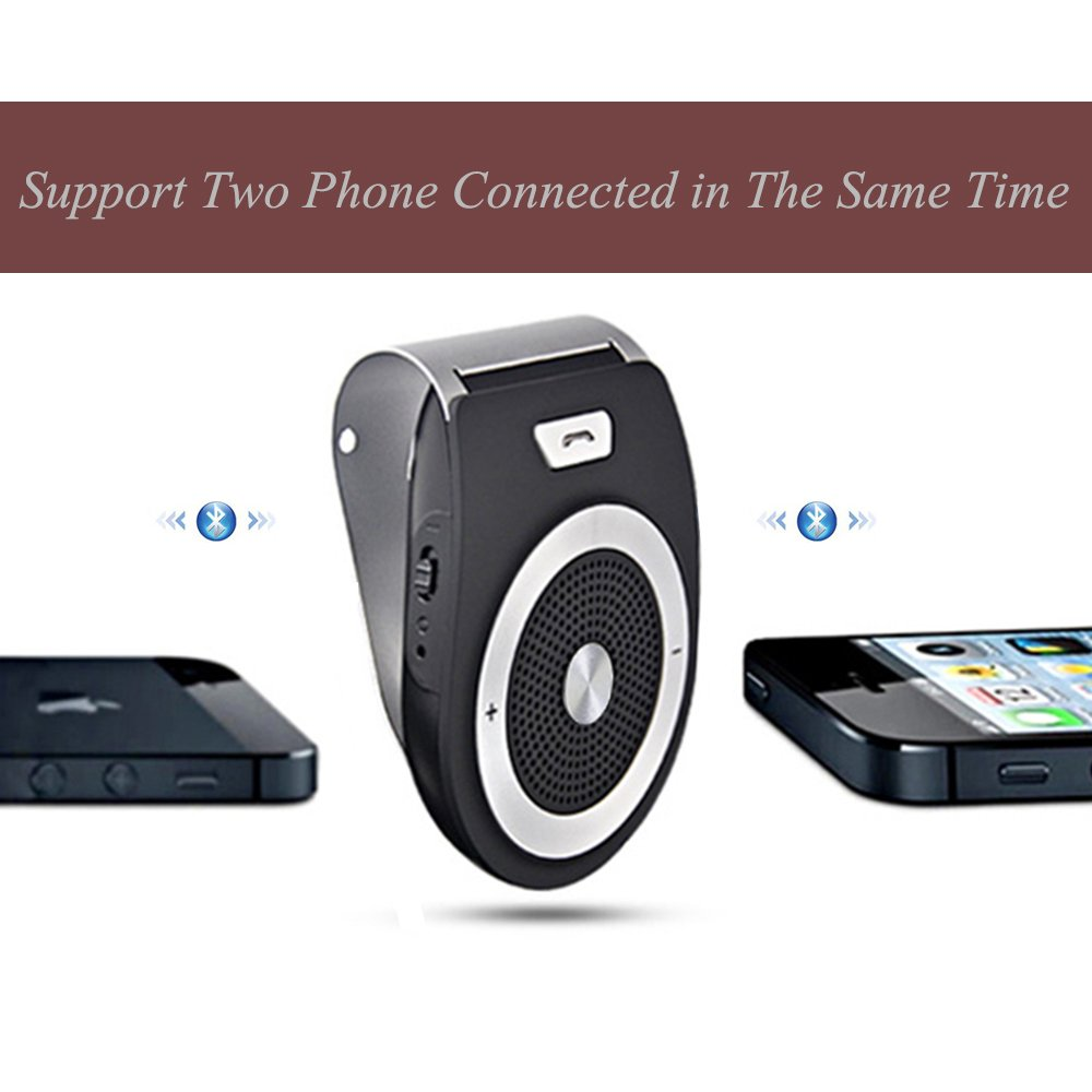 Bluetooth Car Kit HandsFree, YETOR Bluetooth Speakphone Sun Visor Multipoint Wireless Connection A2DP Streaming For iPhone, iPad, Samsung, HTC, LG, Android Phones&Tablet by YETOR (Image #2)