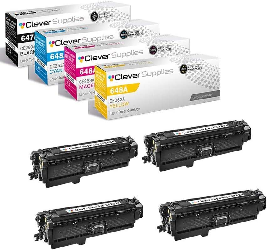 CS Compatible Toner Cartridge Replacement for HP CP4000 CE260A Black CE261A Cyan CE262A Yellow CE263A Magenta HP 647A & HP 648A Color Laserjet Enterprise CP4525 CP4525dn CP4025 CP4525n 4 Color Set