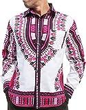 RaanPahMuang African Dashiki Boubou Bright Fashion Work Shirt Light Cotton Plus, XXX-Large, White Pink