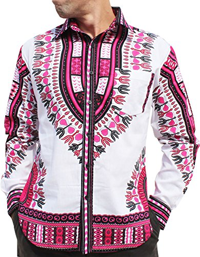 RaanPahMuang African Dashiki Boubou Bright Fashion Work Shirt Light Cotton Plus, XXX-Large, White Pink by RaanPahMuang