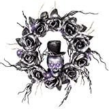 Collections Etc Lighted Skull Halloween Wreath with Black Roses and Twigs, Outdoor and Indoor Décor