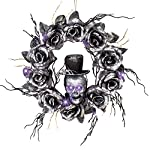 Collections-Etc-Lighted-Skull-Halloween-Wreath-with-Black-Roses-and-Twigs-Outdoor-and-Indoor-Dcor