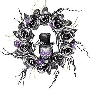 Collections Etc Lighted Skull Halloween Wreath with Black Roses and Twigs, Outdoor and Indoor Décor 86
