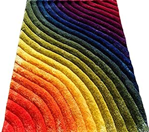 Amazon Com Shag Shaggy Modern Contemporary Rainbow 5x7