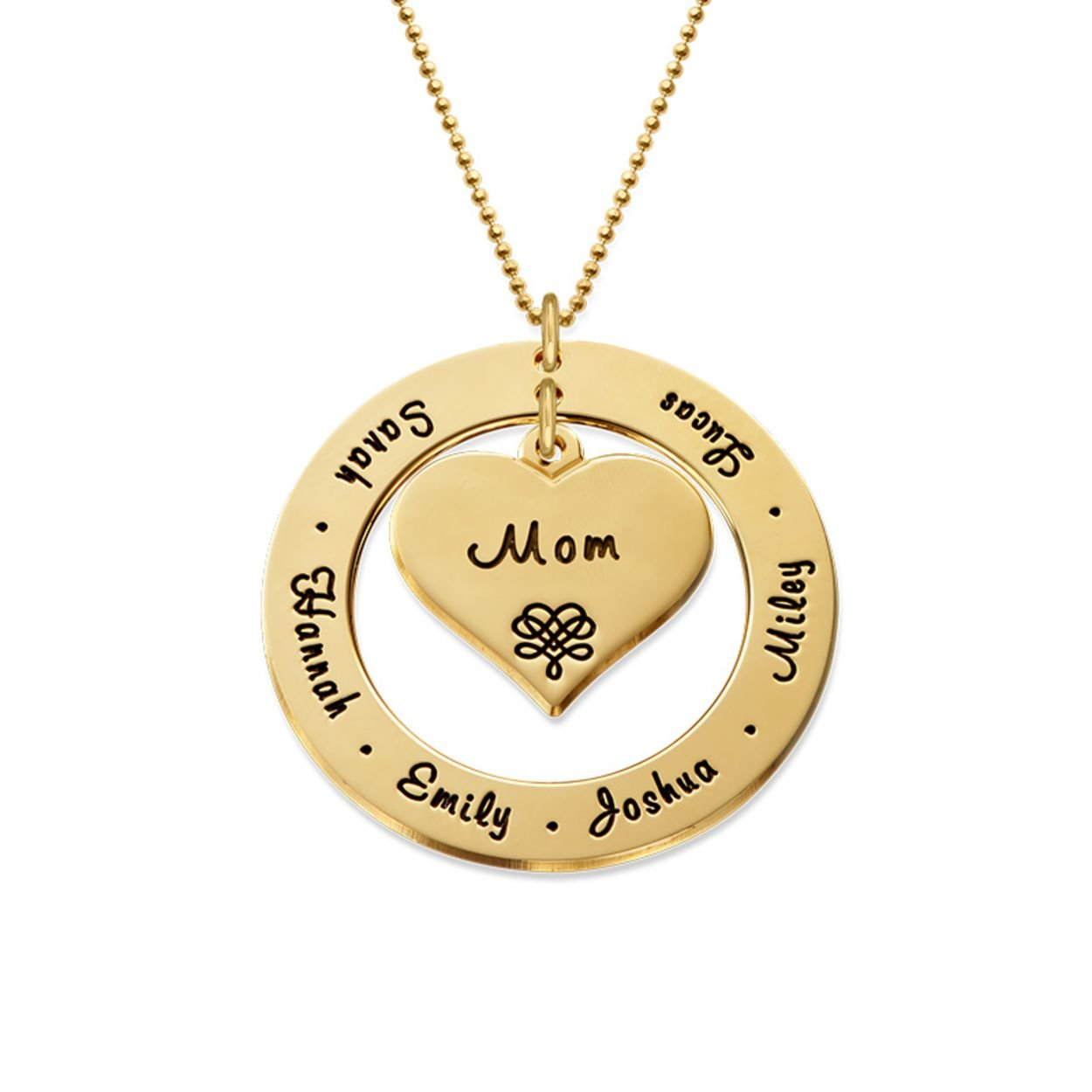 Grandmother / Mother Necklace - Personalized Gold Engraving with Names - Gift for Her by My Name Necklace (Image #2)
