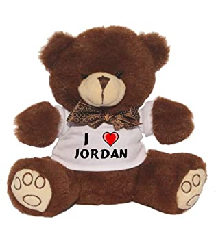 Oso de peluche con Amo Jordan en la camiseta (nombre de pila/apellido/