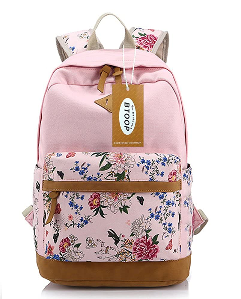 BTOOP Canvas School Backpacks for Girls Casual Style Bookbags (Pink)   Amazon.in  Clothing   Accessories 3dade06fffbd1