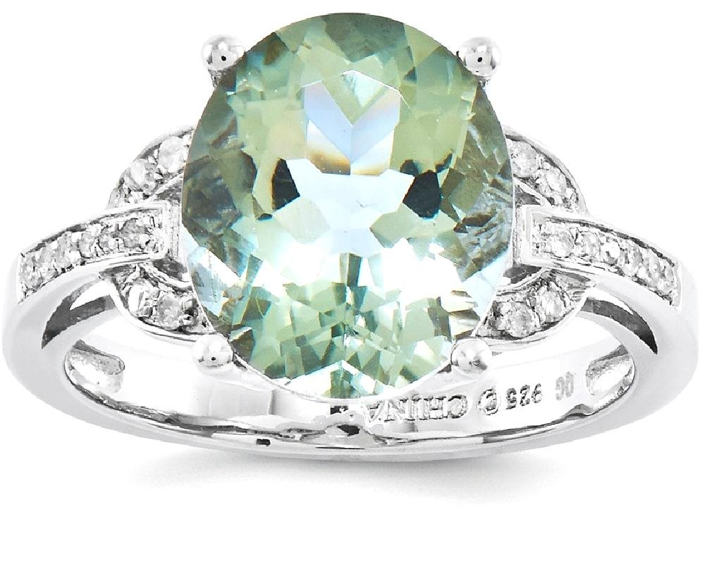 ICE CARATS 925 Sterling Silver Green Quartz Diamond Band Ring Size 6.00 Gemstone Fine Jewelry Gift Set For Women Heart