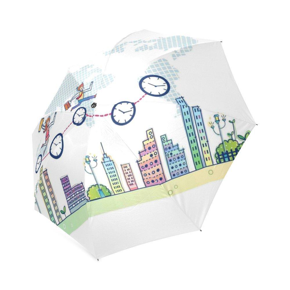 カスタマイズUniqueビジネスin the City折りたたみ雨傘/パラソル/太陽傘 B076F5JZ5G