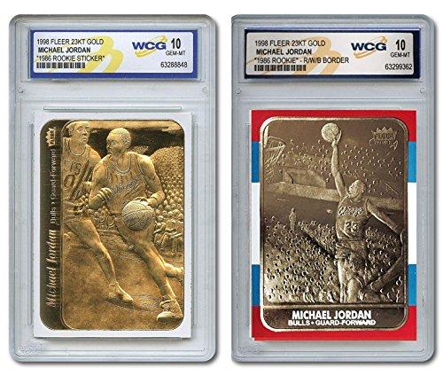 Gold Rookie Card (Set of 2 MICHAEL JORDAN 1986 Fleer ROOKIE with STICKER Gold Cards GEM MINT)