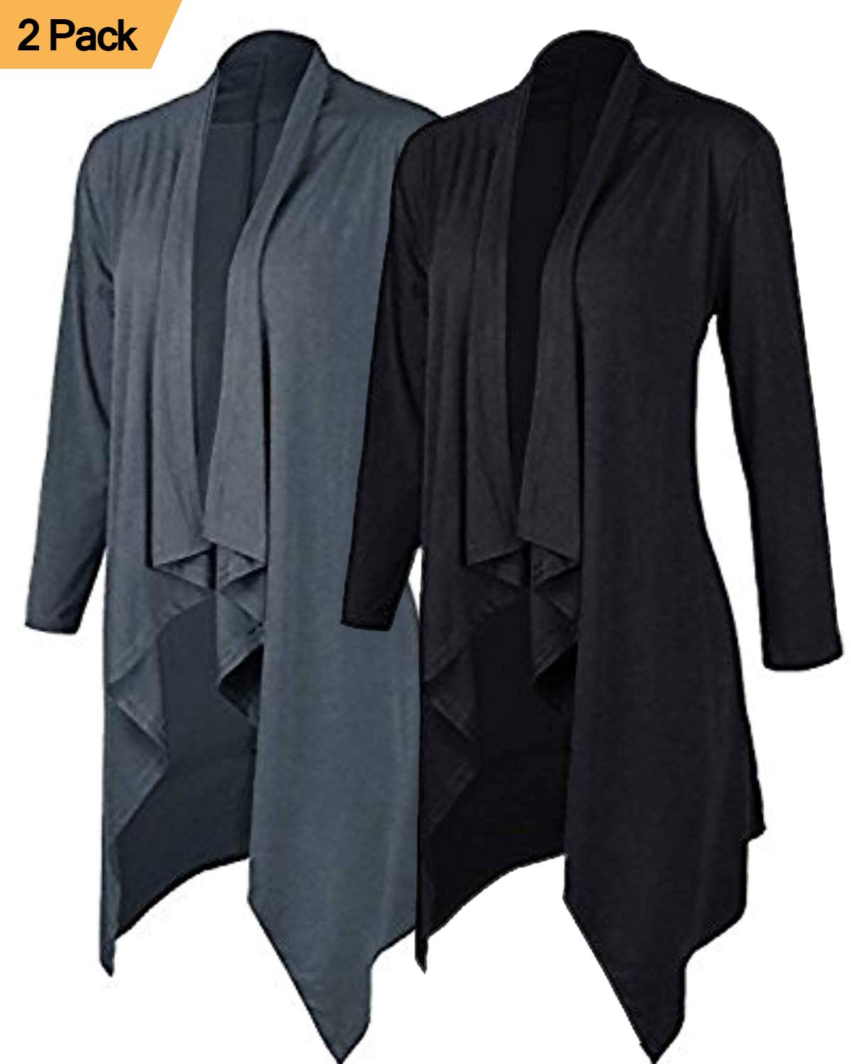 ZITY Cardigans for Women/Solid Lightweight Open Front Waterfall Draped Trench Coat Cardigan