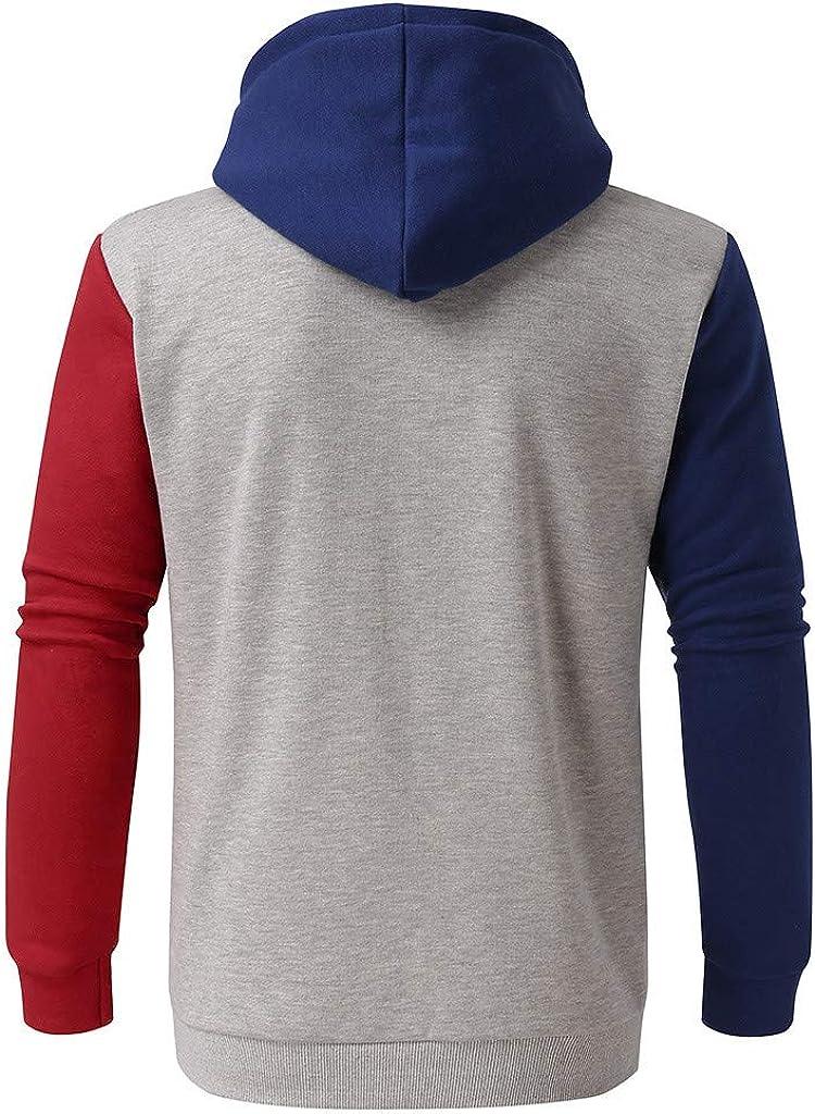 Dumanfs Autumn Men Big Pocket Pullover Long Sleeve Patchwork Sweatshirt Hooded Top Casual Outwear Blouse