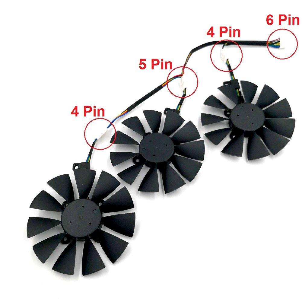 POWER LOGIC PLD09210S12HH Graphics Card Fan for ASUS STRIX R9 390X 390 RX480 RX580 GTX 980Ti 1060 1070 1080 1 set of 3 pcs Fans