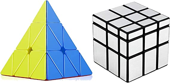 Toy Arena Super Magic Rubik Cube Puzzle Combo Pack Brainstorming Game Multicolor (Pyramid/Silver Mirror)