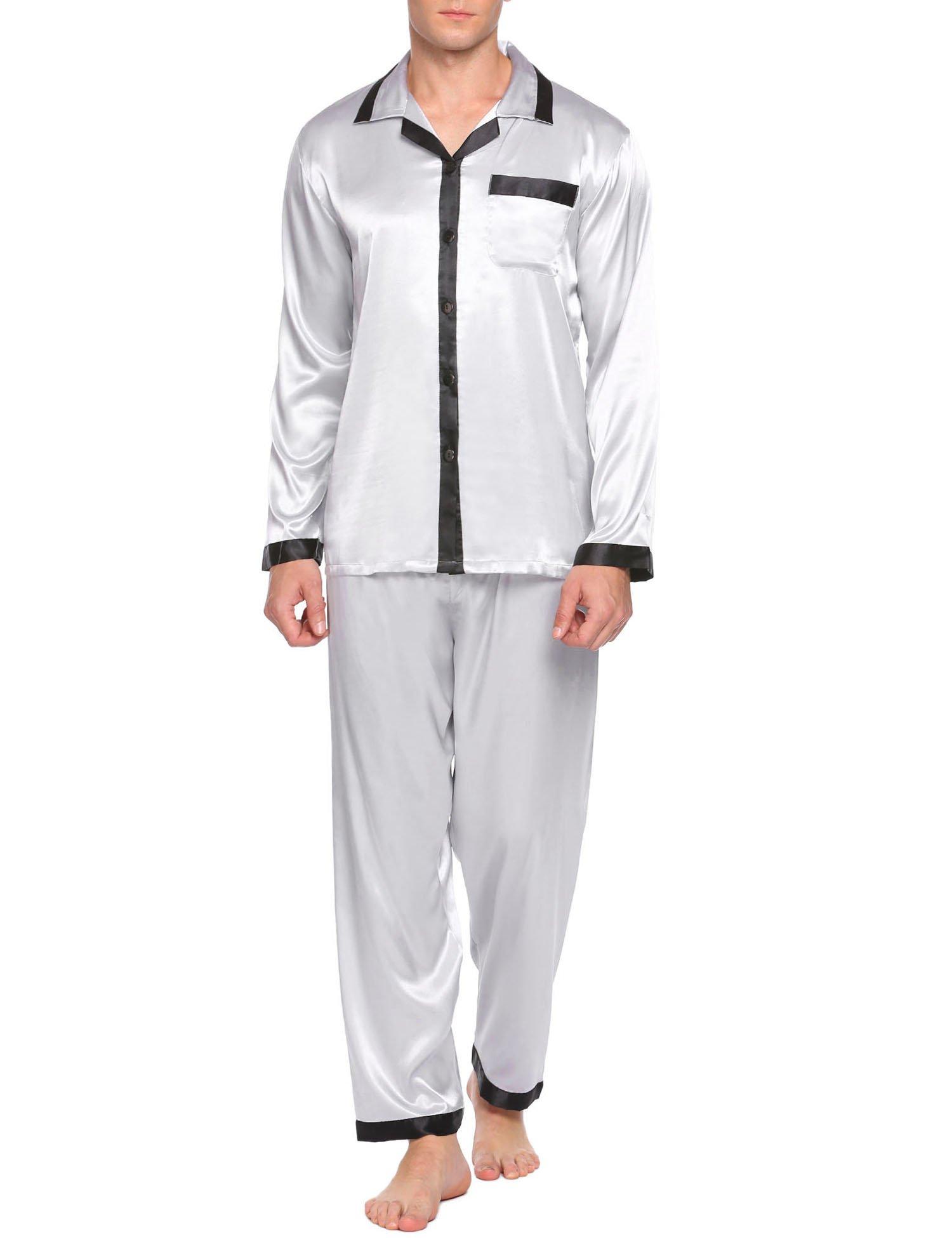 Unibelle Herren Schlafanzüge Lang Satin Pyjama Hausanzug Nachtwäsche Set Grau M