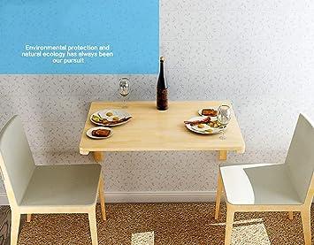 AFDK Mesa de madera maciza de pared maciza Mesa de comedor ...