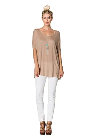 f1f2e13b98a294 Love In LOV-T2627, Short Banded Dolman Sleeve V Neck T Shirt TOP W/R, Taupe  S at Amazon Women's Clothing store: