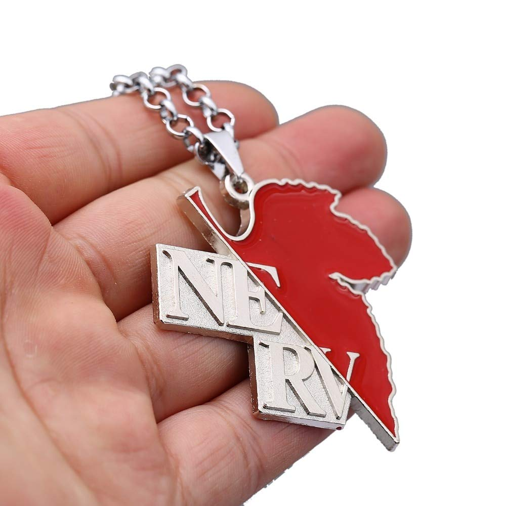 Necklace for Men Japanese Anime EVA Necklace NEON GENESIS EVANGELION NERV Ayanami Rei Pendant Link Chain Necklaces Maple Leaf Charm Gifts Jewelry