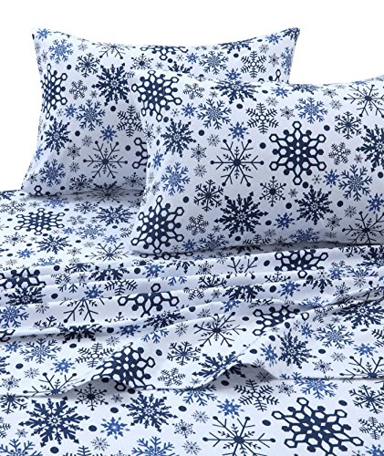 Tribeca Living SNFL170SHEETKI Printed Flannel Deep Pocket Sheet Set, King, Snowflakes Multi