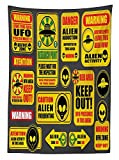 Outer Space Decor Tablecloth Warning Ufo Signs with Alien Faces Heads Galactic Paranormal Activity Design Dining Room Kitchen Rectangular Table Cover Yellow