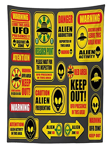Outer Space Decor Tablecloth Warning Ufo Signs with Alien Faces Heads Galactic Paranormal Activity Design Dining Room Kitchen Rectangular Table Cover Yellow by vipsung