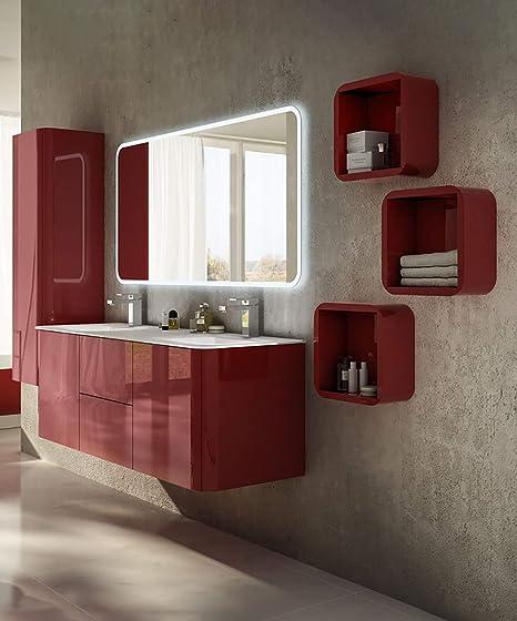 Lavabi Moderni Per Bagno.Mobile Bagno Sospeso Moderno Liverpool Rosso Misura Cm 140