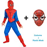 FancyDressWale Amazing Spiderman Micro fleece Dress and Mask Combo, 4-6 Years (Blue)