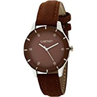 Cartney Analog Brown Dial Leather Strap Girl's Watch (WOBN44)