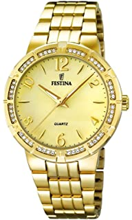 Festina F16704/2 - Womens Watch, Stainless Steel placcato, color: oro