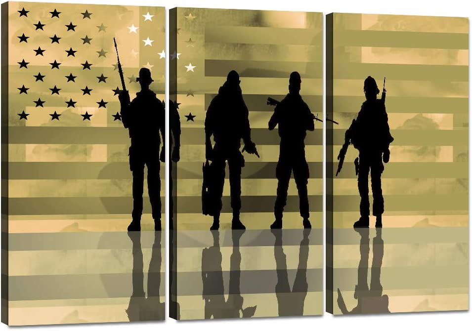 Modern American Flag Wall Art Painting 5 Panels Solider with USA Flag Posters and Prints Retro Military American Flag Canvas Artwork Stretched and Framed for Home and Office Decor - 36''W x 24''H