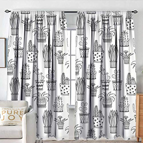 Blackout Curtains Cactus,Doodle Flowers in Pots with Polka Dots and Zig Zags Tropical Plants Monochrome,Grey and White,Rod Pocket Drapes Thermal Insulated Panels Home décor 84