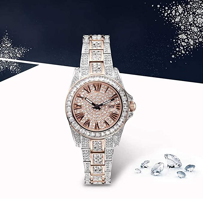 ... 2 Tone Japanese Quarts Movement Water Resistant, Women Watch Fashion Crystal Watch Two Tone with Date Rose Gold & Silver, Reloj de Mujer: ...