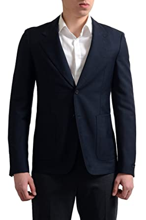 7ab1e2a2da59 Prada Men s Navy Mohair Wool Two Button Sport Coat Blazer at Amazon ...