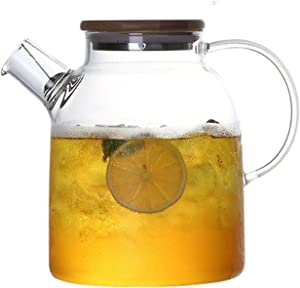 Glass Pitcher with Lid,1800ML/60OZ Borosilicate Glass Water Pitcher for Hot/Cold Water, Ice Tea and Juice Beverage …