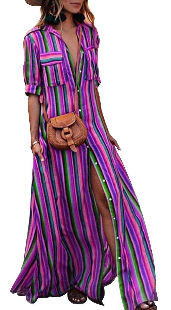 021c28cc1cc4f BLACKMYTH Donna Pulsante Down Collar Striscia Drucken Abito Maniche Corte  Split Lungo Maxi Vestito con Tasche  Amazon.it  Abbigliamento