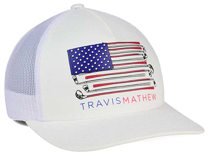 0827a5773da ... get new travis mathew old glory american flag white adjustable snapback  golf hat cap amazon sports