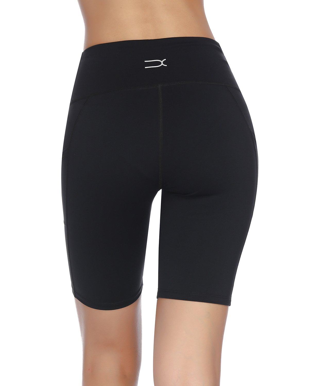 X-HERR Women\'s High Waist Workout Yoga Shorts Power Flex Tummy Control Running Pant with Side Pocket (Black,1X Big)