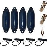 Komplettset 4er-Set Majoni Star Fender Bootsfender mit 4 Fenderleinen, 2 Ersatzventilen und 1 Ventiladapter - verschiedene Farben und Größen