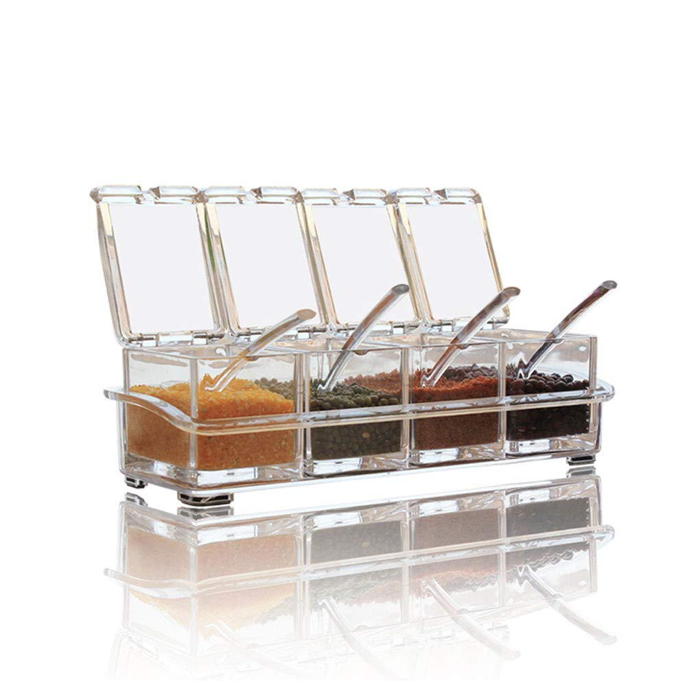 V-Resourcing Clear Seasoning Box, 4 Pieces Clear Seasoning Storage Container for Spice Salt Sugar Cruet,Condiment Jars with Spoons
