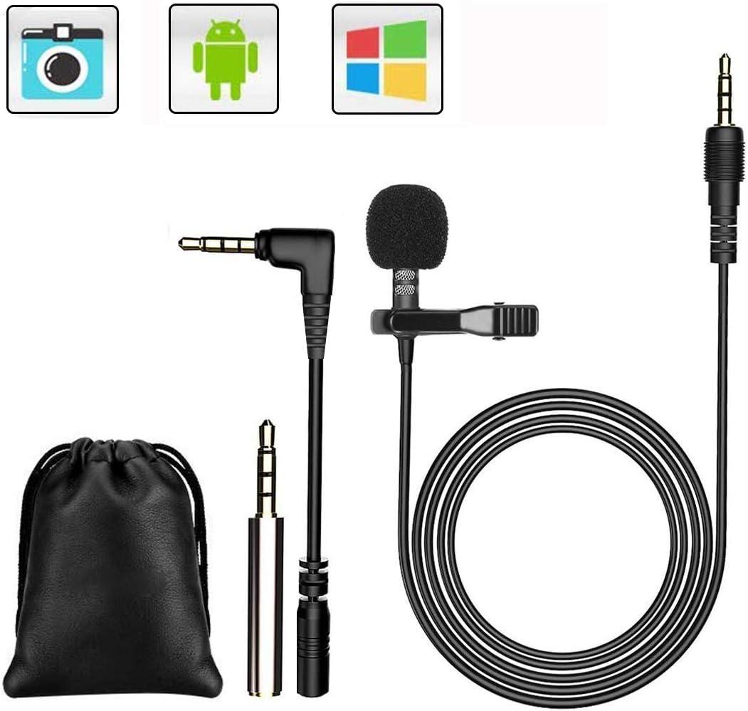 GeekerChip 3.5mm Mini Micrófono Omnidirectional Condensador con 2 adaptadores para Grabación Entrevista/Videoconferencia/Podcast/Dicción de Voz/Phone