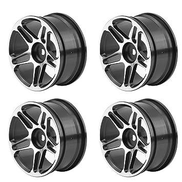RC Coche Cubos de Rueda, 4 Pcs/Set Hubs Llantas de Ruedas Aleación de Aluminio Tire Tyre para 1:10 Drift Racing Control Remoto Coche Accesorios(Negro): ...