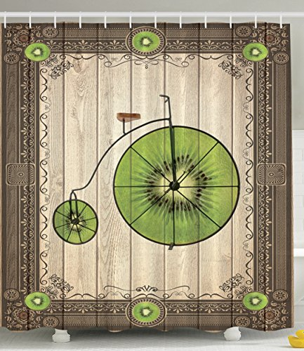 Kiwi Tropical Fruit (Kiwi Bicycle Vintage Wooden Background Tropical Fruit Innovational Decorative Retro Modern Art Deco Design Creative Kiwi Decor Special Bathroom Collection Lover Shower Curtain Green Beige Brown)