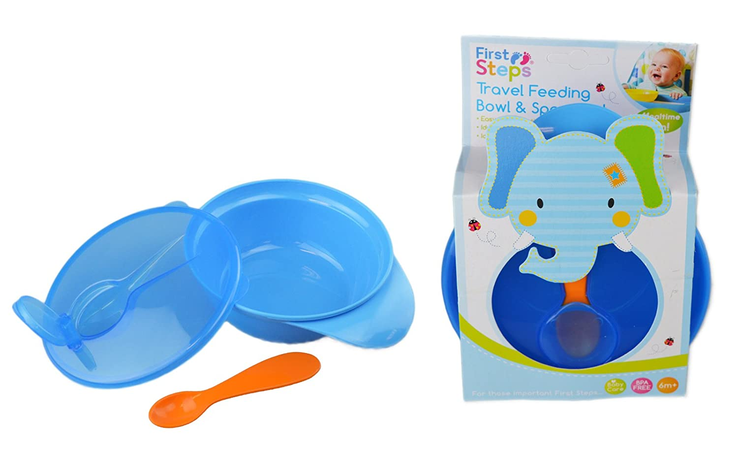 First Steps Travel Feeding Bowl Spoon Set Outdoor Weaning Self Feeding BPA Free RSW