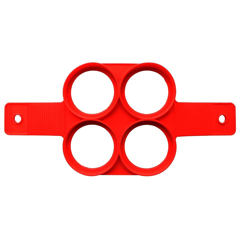 Da.Wa Molde de Tortilla de Silicona de Cuatro Agujeros Cooker Panqueques Molde Molde Huevo Moldes Silicona Rojo