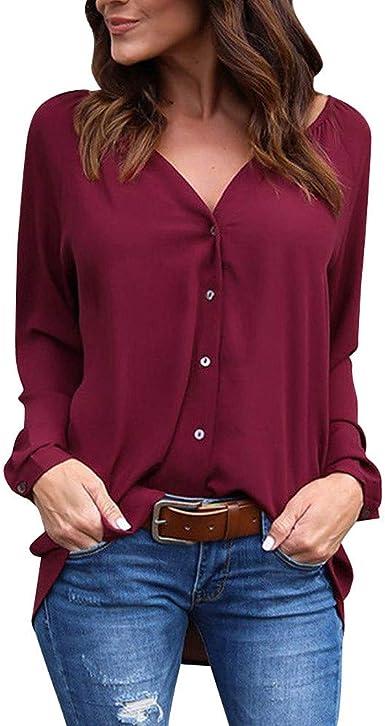VEMOW Camisetas Mujer Verano Blusa Elegante Chicas Mujer Señoras Cuello en V Manga Larga Botón Gasa Casual Camisa Blusa Parte Superior Otoño Abrigos De Mujer: Amazon.es: Ropa y accesorios