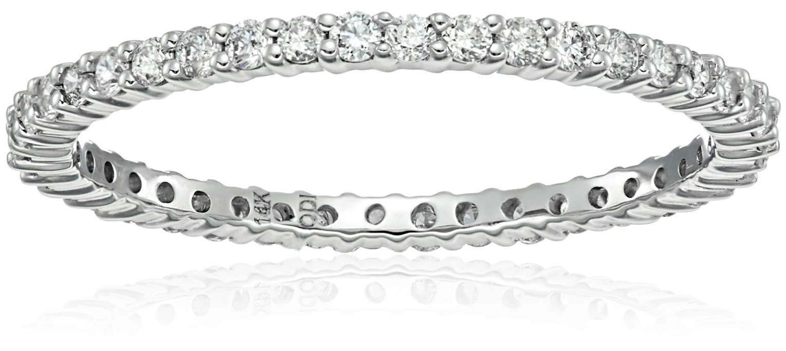 14k White Gold Diamond Prong Eternity Ring (1/2cttw, H-I Color, I1-I2 Clarity), Size 7 by Amazon Collection