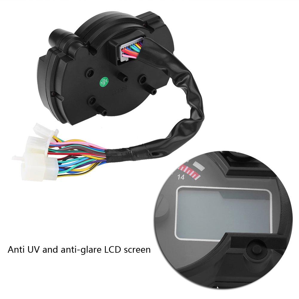 Geschwindigkeitssensor Qiilu Universal Motorrad Digital Bunte LCD Tacho Kilometerz/ähler Tachometer W