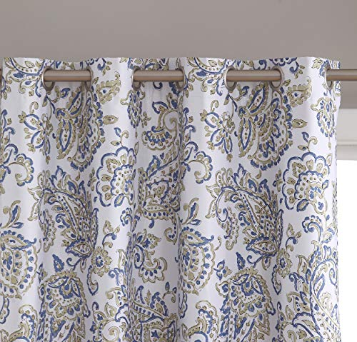 HLC.ME Amalfi Paisley 100% Blackout Room Darkening Thermal Lined Curtain Grommet Panels for Bedroom - Energy Efficient, Complete Darkness, Noise Reducing - Set of 2 (52